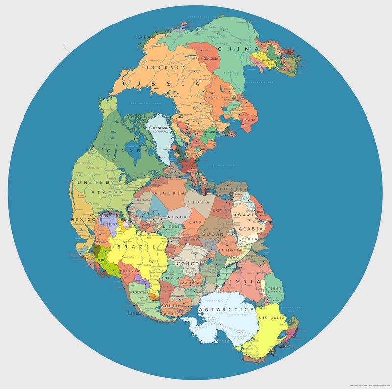 Mapa-de-pangea-con-las-fronteras-internacionales-actuales